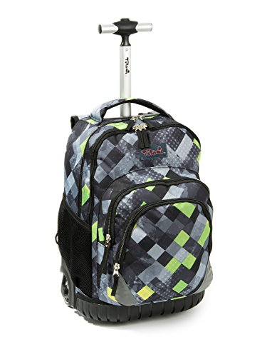 (Tilami Rolling Backpack Armor Luggage School Travel Book Laptop 18 Inch Multifunction Wheeled Backpack for Students ... (Black Checkered 1))