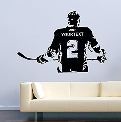 USA Decals4You   Sport Wall Decals Hockey Player Personalized Custom Name  Decor Stickers Vinyl MK0584