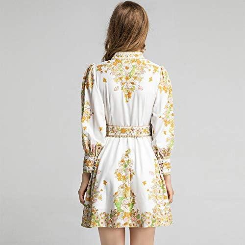 Lente Zomer Korte Jurk Dames met Lange Mouwen Vintage Flower Floral Print Holiday Party Belted Dress