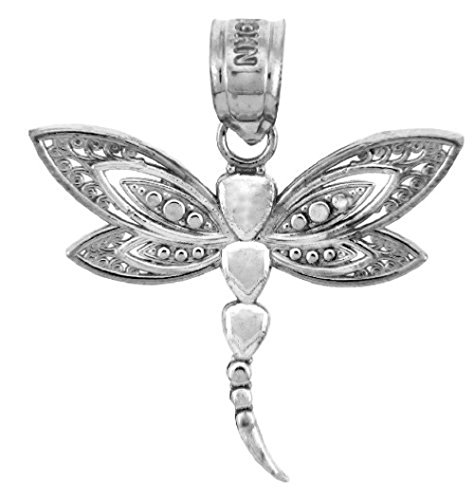 14K White Gold Dragonfly (14k Dragon Pendant)