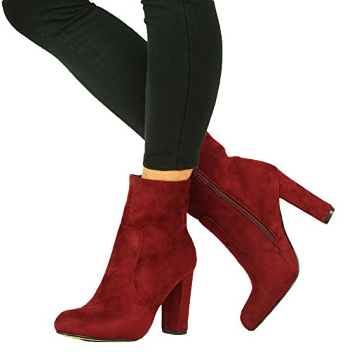 Shelikes Womens Faux Suede Block Heel Boots UK 3-8 Red