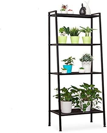 JS HOME Multifunctional Metal 4-Tier Ladder Shelf, Leaning Bookshelf Bookcase, Plant Flower Stand Storage Rack, Black