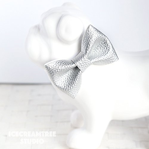 Faux Leather Metallic Silver - Bow Tie Collar Slide On, Collar Add On Bowtie, Bow Collar Accessories