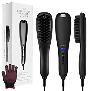 Hair Straightener Brush, 3-in-1 Ionic Hair Straightening Brush Fast Ceramic Heating, Baililai Straightening Brush with…