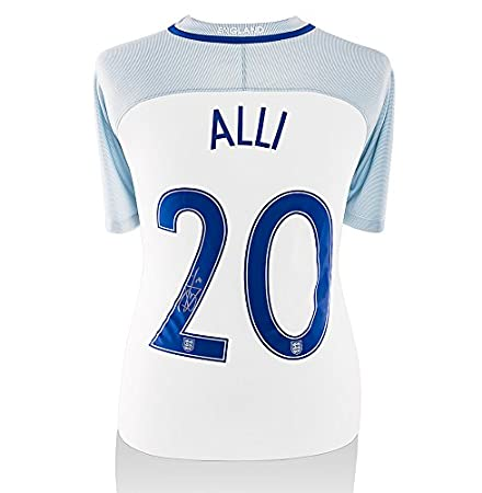huge selection of 1d1c6 99033 Dele Alli Signed Autograph England Shirt - Number 20: Amazon ...