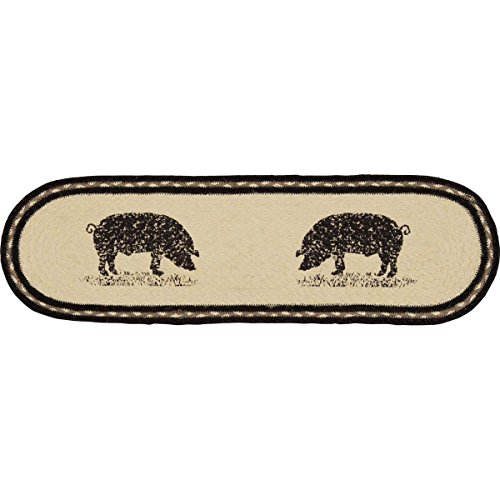 VHC Brands 34089 Farmhouse Flooring Miller Farm Charcoal Pig Jute Latex Backing Stenciled Nature Print Oval Stair Tread, Bleached White