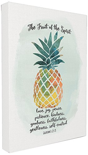 Stupell Home Décor The Fruit of the Spirit Multicolored Pineapple Stretched Canvas Wall Art, 16 x 1.5 x 20, Proudly Made in USA