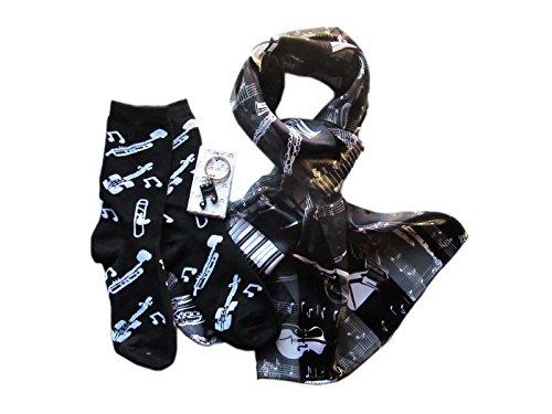 Ladies Music Gift Set: Scarf, Socks & Key Ring