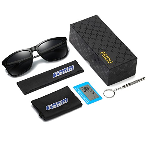 c01ef659f1 Amazon.com  Sunglasses for Men Polarized Sunglasses - FEIDU Polarized  Sunglasses UV400 Protective FD9003 (black gun