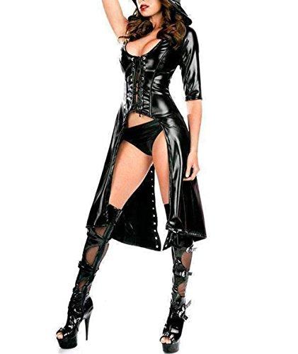 Wondermiracle Sexy Womens Wetlook Bodysuit Catsuit Punk Gothic Jumpsuit Hooded Coat Leather Latex PVC Vinyl Lingerie (Vinyl Jumpsuit)