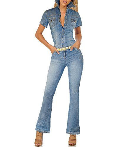 HyBrid & Company Womens Stretch Denim Overalls PVJPT4761 Blue ()