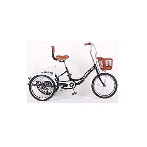 IMBM Elderly Small Pedal Tricycle Scooter Light Backrest Ride Bicycle Shopping and Grocery Shopping(Color:A)