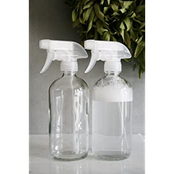 Rail19 Glass Cleaner Bottle with Clear Spray Nozzle Set of Two - Lead Free Glass