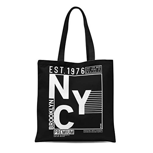 Shoe Bronx Canvas (Semtomn Canvas Tote Bag Bronx Tee Typo College Nyc Vintage Athletic Badge Brooklyn Durable Reusable Shopping Shoulder Grocery Bag)