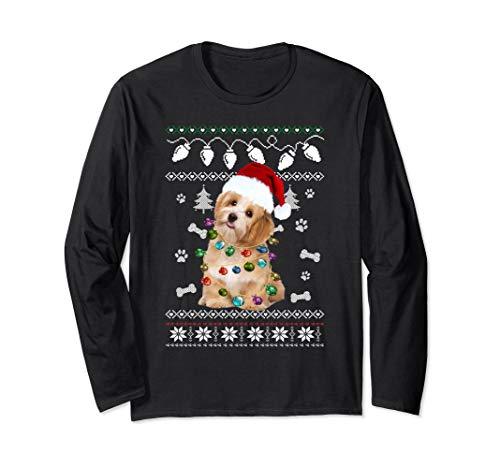 Havanese Xmas Dog Light Ugly Sweater Long Sleeve Tee