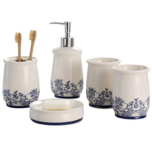 NarwalDate Bathroom Accessory Set Storage & Organization Ceramic 5 Pieces Set,Including Toothbrush Holders,2 Gargle Tooth-Brushing Cups,Soap Dishes,Soap & Lotion Dispenser Pump Blue ()