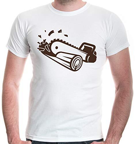 buXsbaum Mens T-Shirt Chainsaw-L-White-Brown