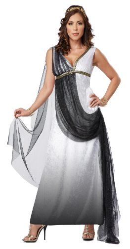 California Costumes Women's Platium Collection - Deluxe Roman Empress Adult, Black/White, Medium (Roman Empress Costume)