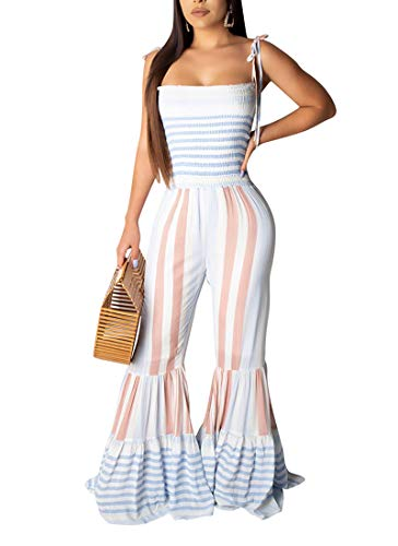 ECHOINE Sexy Bodycon Jumpsuits for Women, Floral Print Drawstring Backless Wide Leg Flare Bell Bottom Boho Outfits Light Blue M