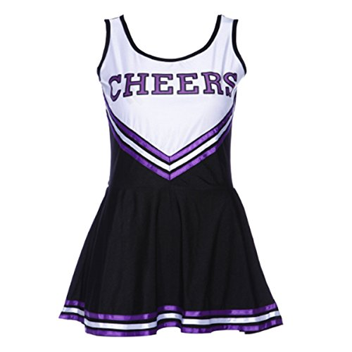 Quesera Women's Cheerleader Costume Cheerleading Uniform Fancy Dress Cosplay Costume, Black, XL (Cheerleader Outfit For Adults)
