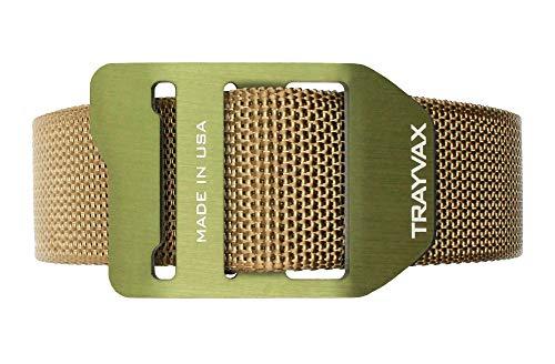 (Trayvax Cinch Web Belt, Tan Nylon Webbing, OD Green Buckle, 34-38)