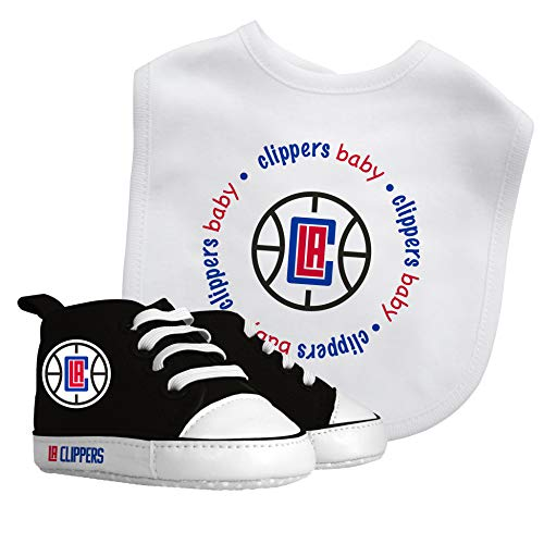 Bib & Prewalker Gift Set | Bibs Unisex Gift Set for Teething and Drooling, Bib-100% Cotton Front/100% Polyester Backing Shoe Soft for Girls Boys 0-6 Months | Los Angeles Clippers ()