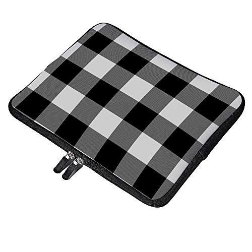Laptop Sleeve Water Repellent Neoprene Bag Protective Case Cover Compatible with MacBook Pro/Asus/Dell/Hp/Sony/Acer 12 Inch, Rustic Buffalo Plaid Gray Black -  Elvoes, Elv-l1gp7q13g3vp-2