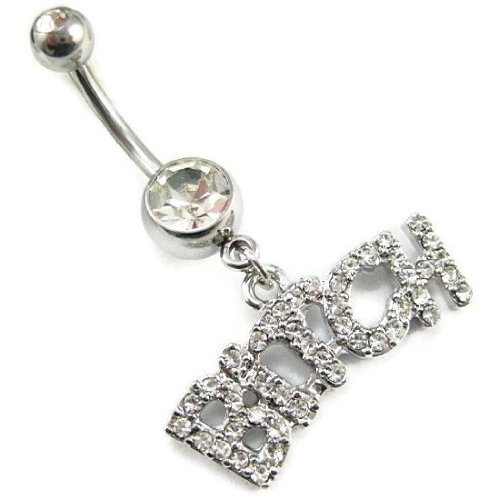 Clear Navel Ring with Gem and Dangle Bitch - 14ga 3/8