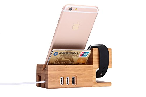 Ofeely Bamboo Charging Stand iphone