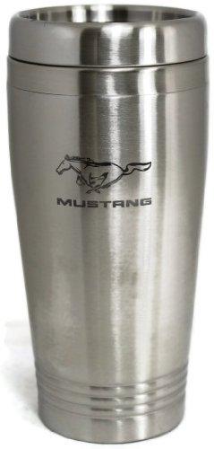 Mustang Travel Mug Travel Coffee Mug Cup Stainless Steel Tea Mug Thermo - Silver DanteGTS
