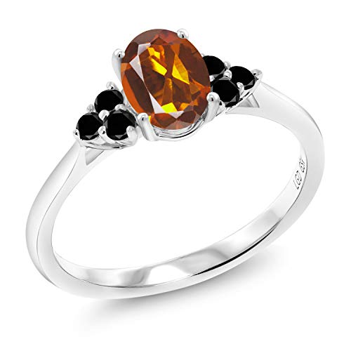 0.90 Ct Oval Orange Red Madeira Citrine Black Diamond 10K White Gold Ring (Size 9)
