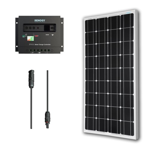 - Renogy 100 Watts 12 Volts Monocrystalline Solar Panel Bundle Kit with 30A Negative ground Charge Controller+9in MC4 Adaptor Kit