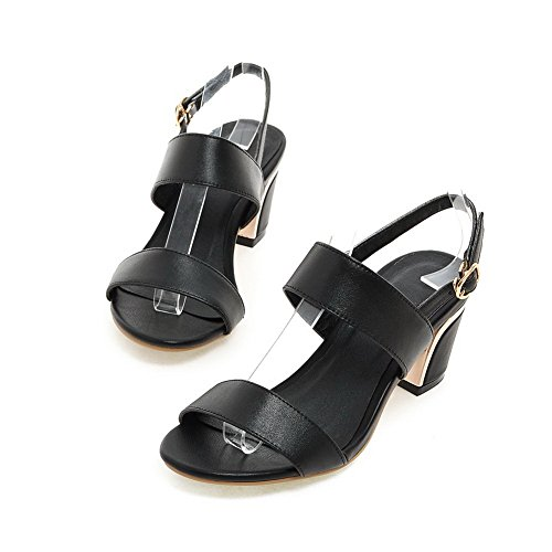 Sandals Metal Pleather Womens Buckles SLC03680 Chunky Heels Black AdeeSu Heeled pf0vXw