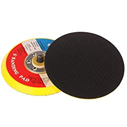 SPTA 5Inch (125mm) 5/16-24 Thread PU Hook&Loop Backer Backing Pad For Air Sander And Dual Action Car Polisher Pack Of 2Pcs