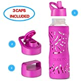 Zuzuro Glass Water Bottle with Straw Cap – 25oz Wide Mouth Glass Sports Water Bottle w Protective Silicone Sleeve – 3 Different Leak-Proof Lids – Reusable Eco Friendly - BPA Free (Purple)
