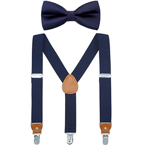 Child Boys Adjustable Silk Bowties & Suspender Sets Y Back Metal Clips Genuine Leather Suspenders (Navy blue + Navy blue bowtie)