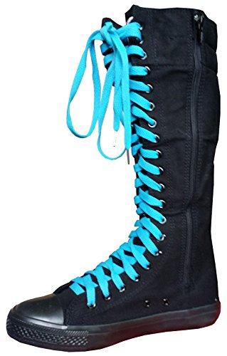 Womens 2 fashion Punk girls color high shoes Sneakers canvas laces Black boots knee 5 a7pdpwEx