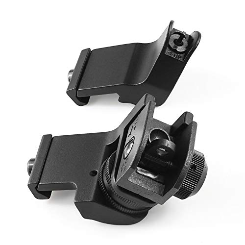 Feyachi 45 Degree Front and Rear Backup Iron Sights - Rapid Transition Picatinny Rail Mounted