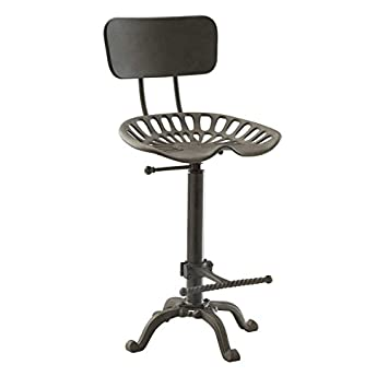 Amazon.com: Farmhouse Tractor Seat Stool With Backrest, Industrial Gray:  Kitchen U0026 Dining