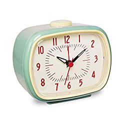 Slash Vintage Retro Old Fashioned Quiet Non-Ticking Sweep Second Hand, Quartz Analog Desk Clock, Battery Operated, Loud Alarm (Dark Sky Blue)