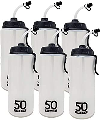 Easy Squeeze 1 Liter Sports Water Bottle W//Straw Built in Finger Grip /&