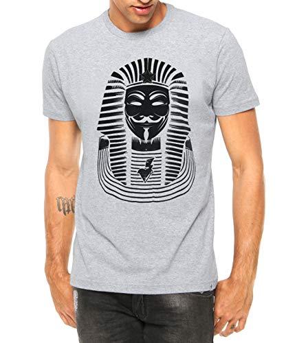 Camiseta Criativa Urbana Nerd Geek Anonymous Faraó Manga Curta Cinza M
