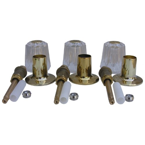 LASCO 01-9459 Price Pfister Windsor Series 3 Valve Tub and Shower Trim Set Plastic Handles, Stems Flanges and Nipples, Polished Brass (Polished Brass Stem)