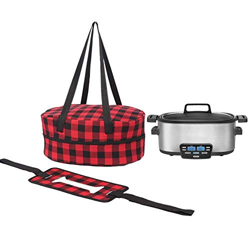 "Slow Cooker Carrier Bag, Crock Pot Insulated Travel Case With A Secure Straps, Large Size 14""Lx10.2""Wx6.3""H, Carry Handles And Dual Zipper Design, Compatible With 4, 5, 6 Quart Slow Cookers"