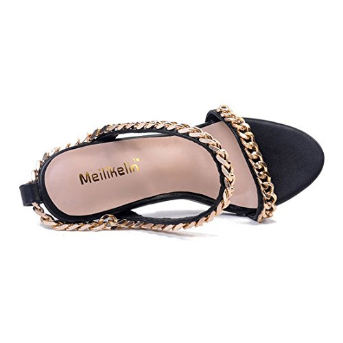 Womens Ladies Open Toe High-heeled Sandals Slippers For Dress Evening Party Prom Black oBhwoMp
