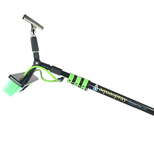 24 ft Water Fed Pole, Window and Solar Cleaning Pole w/Brush and Squeegee Double Adapter by EquipMaxx (Best Water Fed Pole System)