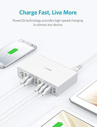 Anker 60W 10-Port USB Wall Charger, PowerPort 10 for iPhone XS/X/ 8/7 / 6s / Plus, iPad Pro/Air 2 / Mini, Galaxy S7 / S6 / Edge/Plus, Note 5/4, LG, Nexus, HTC and More