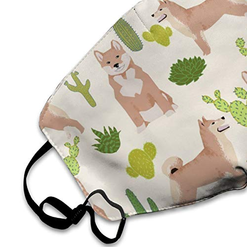 NOT Shiba Inu Cactus Trendy Dog PM2.5 Mask, Adjustable Warm Face Mask Unique Cover Filters Blocking Pollen Pollution Germs,Can Be Washed Reusable Pollen Masks Cotton Mouth Mask for Men Women