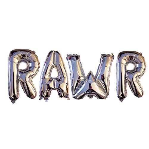 RAWR Balloons by PinkFish Shop - Silver Foil 16 inch Balloons for Dinosaur Birthday Party Package Decorations Supplies TREX -