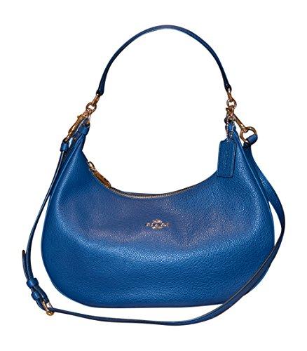 Coach Pebble Leather Harley East West Hobo Shoulder Bag Handbag, Marina Blue by Coach